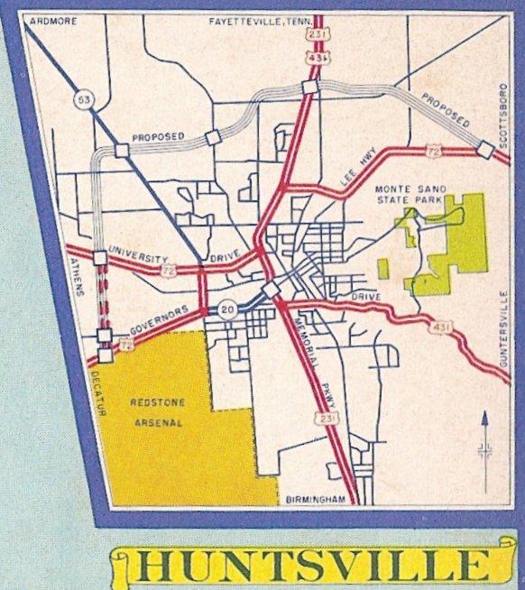1967 Huntsville Map Includes Proposed Rideout Road Perimeter Road